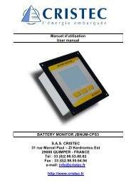 Manuel d'utilisation User manual BATTERY MONITOR JBNUM ...