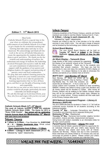 Newsletter Edition 7 2013 - St Edwards Primary School