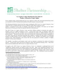 Los Angeles County Homelessness Fact Sheet #1 Number - Shelter ...