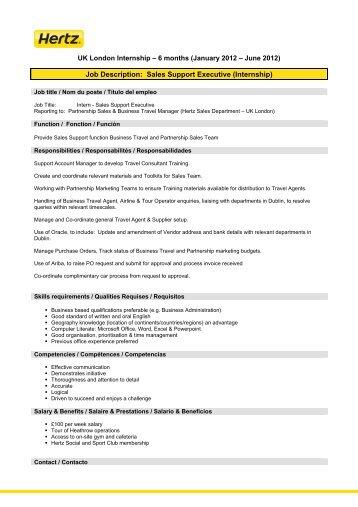 Good Job Description: Sales Support Executive (Internship)