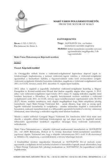 ALFÖLDVÍZ Zrt.-vel bérleti-üzemeltetési szerződés megkötése - Makó