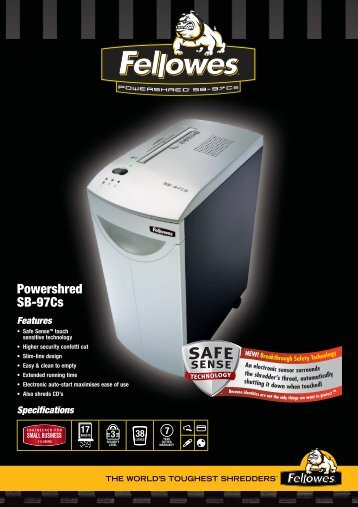SB-97Cs Shredder Sell Sheets UK - The Fax Shop