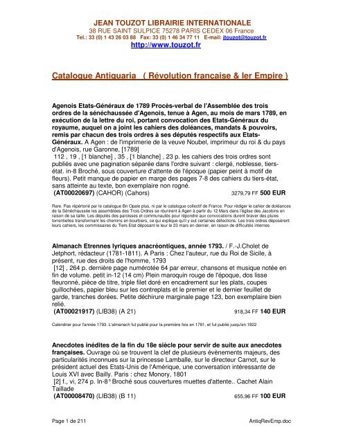 Catalogue Antiquaria Ra C Volution Frana Aise Ier Empire Librairie