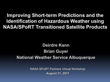 Improving Short-term Predictions and the Identification of ... - NASA