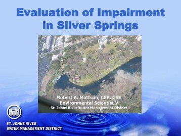 Evaluation of Impairment in Silver Springs - Florida's Springs