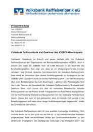 Volksbank Raiffeisenbank ehrt Gewinner des  JOBBEX-Gewinnspiels