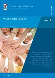 MA in Social Studies - Waterford Institute of Technology