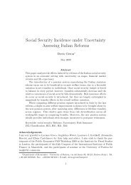 Social Security Incidence under Uncertainty Assessing Italian Reforms