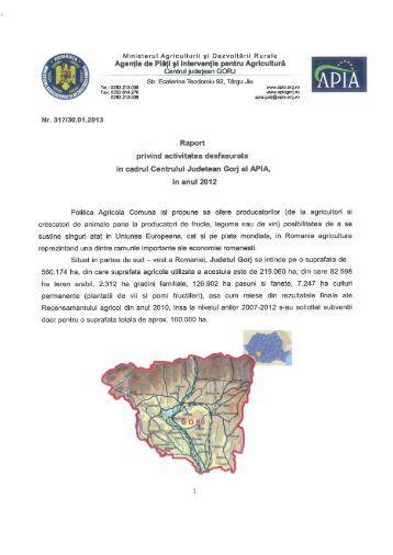 Va punem la dispozitie Raportul de activitate al APIA Gorj pentru ...