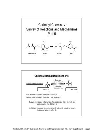 Carbonyl Chemistry Survey of Reactions and Mechanisms Part 5