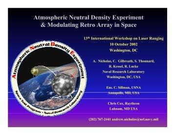 Atmospheric Neutral Density Experiment & Modulating Retro ... - NASA