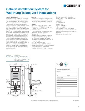 geberit installation system for wall hung toilets 2 x 4