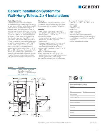 Installation Instructions Close Coupled Wall Hung