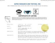 IAPMO RESEARCH AND TESTING, INC. CERTIFICATE OF LISTING