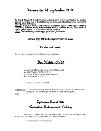 Compte Rendu du Conseil Municipal du 14 Septembre 2010 - Wissant