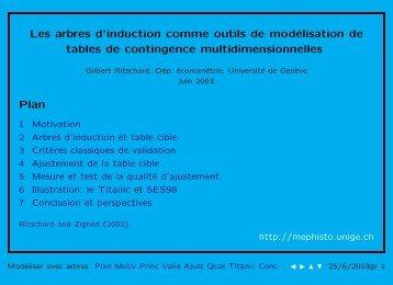 Les arbres d'induction comme outils de modélisation de tables de ...