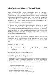 Josef und seine Brüder« – Text und Musik - Universität Tübingen