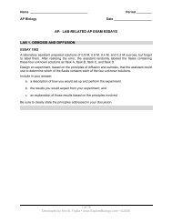 Lab Essay Questions - Explore Biology