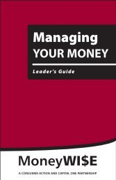 Managing Your Money - Leader's Guide - Consumer Action