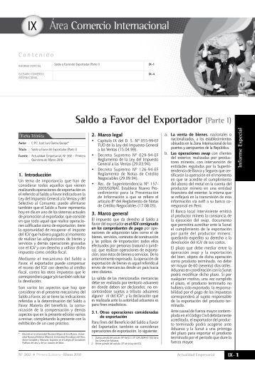 IX Saldo a Favor del Exportador - Revista Actualidad Empresarial