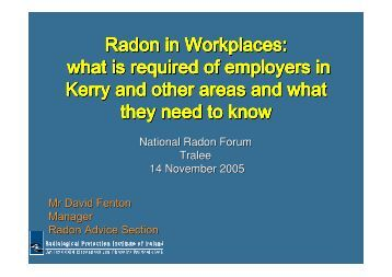 Radon in Workplaces - Radiological Protection Institute of Ireland
