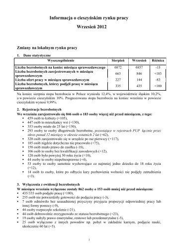 Informacja o cieszyńskim rynku pracy - Wrzesień 2012 - Powiatowy ...