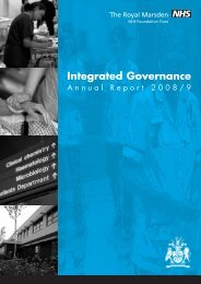 Integrated Governance Annual Report 2008/9 - The Royal Marsden
