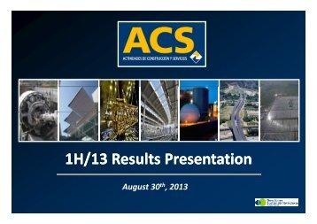 1H/13 Results Presentation - Grupo ACS