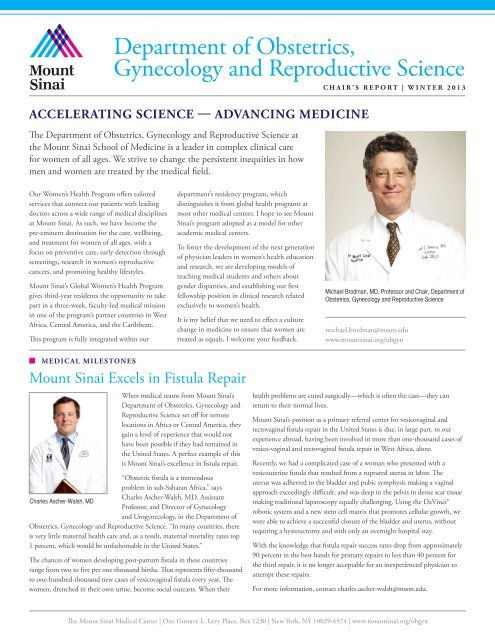 OBGYN Chair's Report - Winter 2013 - Mount Sinai Doctors