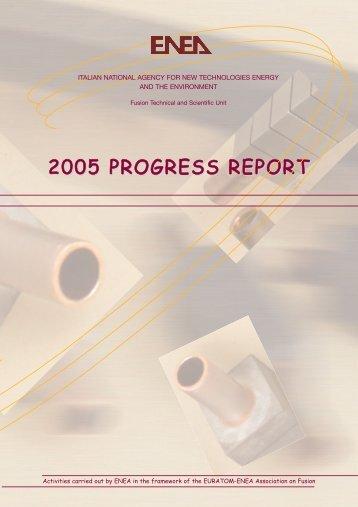 2005 PROGRESS REPORT - ENEA - Fusione