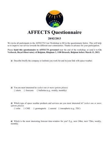 AFFECTS Questionnaire 28/02/2013