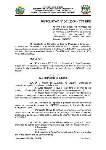 Resolução 001-2008 - Conepe - Normatização Acadêmica - UNEMAT
