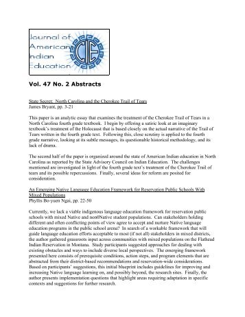 Vol. 47 No. 2 Abstracts - Journal of American Indian Education