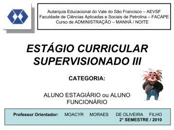 ESTÁGIO CURRICULAR SUPERVISIONADO III - facape