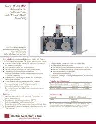 Martin Modell MBS Automatischer ... - Martin Automatic Inc