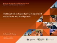 Building Human Capacity in Mining-related Governance - The ...