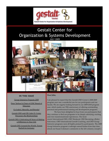 July 2009 - Gestalt Center for Organization and Systems Development