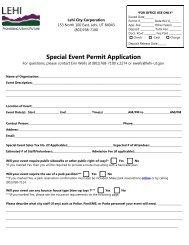 Special Event Permit Application - Lehi City