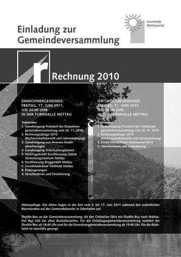 Einladung zur Gemeindeversammlung Rechnung 2010