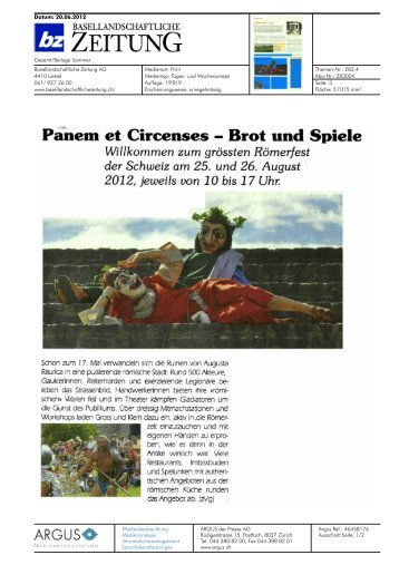 Panem et Circenses - Brot und Spiele - Baselland Tourismus