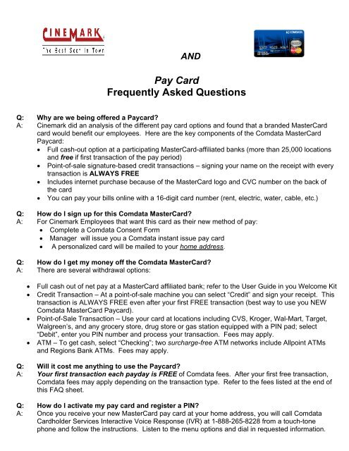 Pay Card Frequently Asked Questions