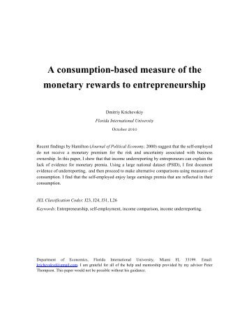 A consumption-based measure of the monetary rewards to ...