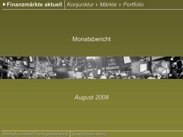 Finanzmärkte aktuell August 2008 - YPOS Finanzplanung GmbH