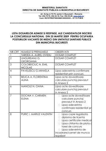 lista dosarelor admise si respinse, ale candidatilor inscrisi la