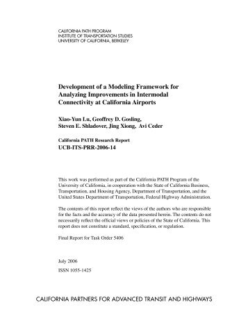 Development of a Modeling Framework for Analyzing Improvements ...