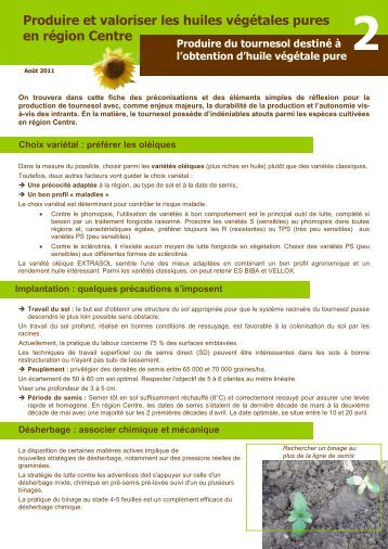 Fiche culture tournesol for Chambre agriculture indre