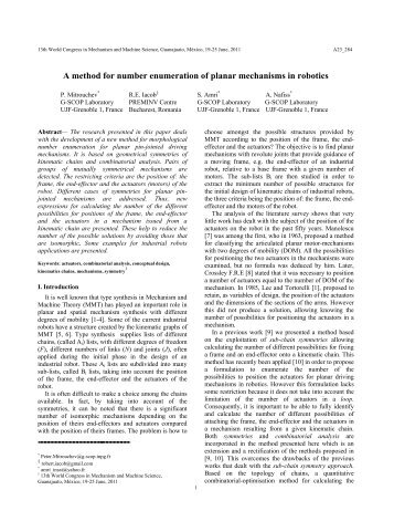 enumeration of kinematic chains and mechanisms Butcher ea, hartman c efficient enumeration and hierarchical classification of planar simple -jointed  network approach to mechanism kinematic chain.