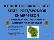 Badger Boys State Information - American Legion