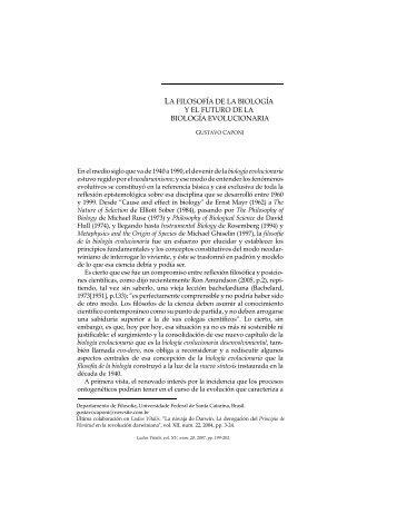 LA FILOSOFÍA DE LA BIOLOGÍA Y EL FUTURO DE ... - Ludus Vitalis