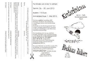 1. Mai 2013 - Ev.-luth. Kirchengemeinde Varel